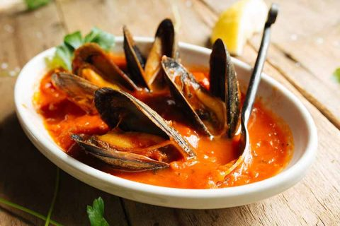 Mussel Dish Cooked in Red Sauce
