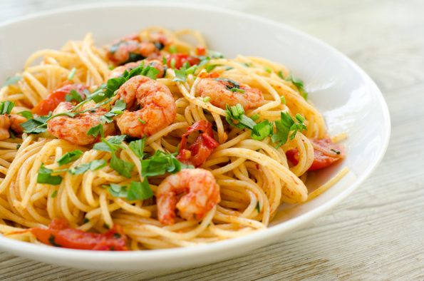 Spaghetti Shrimp with Burma Spice Lemon Pepper