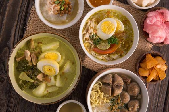 Top Down View of Indonesian Dishes