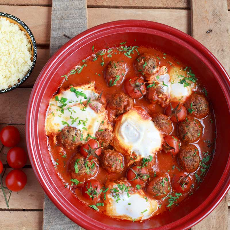 Kefta Mkaouara (Moroccan Meatballs with Poached Eggs)