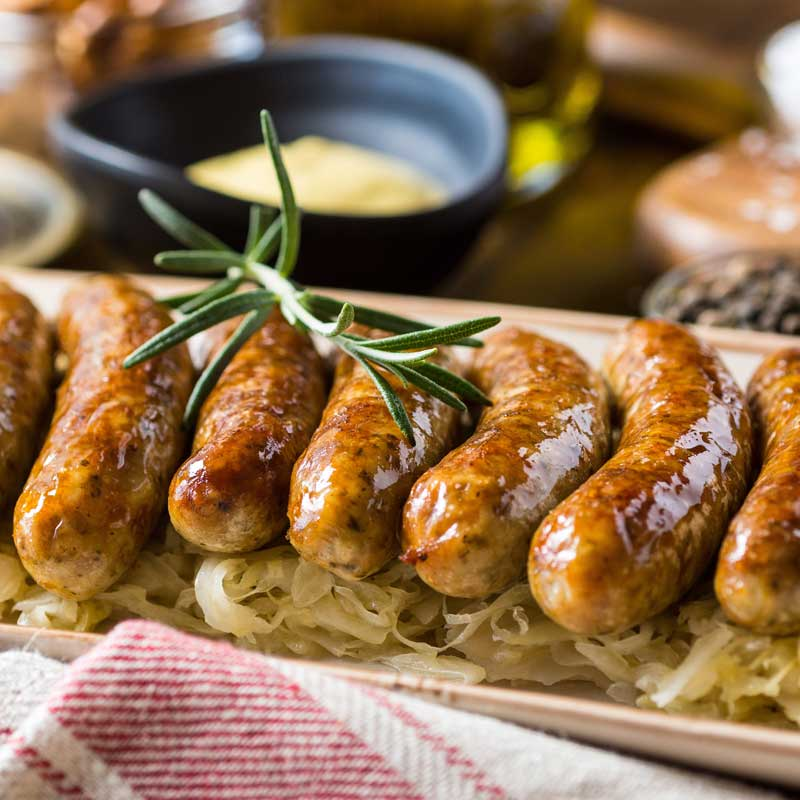 Bratwurst and Sauerkraut with Spicy Beer Mustard